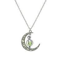 Vintage Crescent Moon - Luminous Crescent Moon - Ball Of Light Necklace