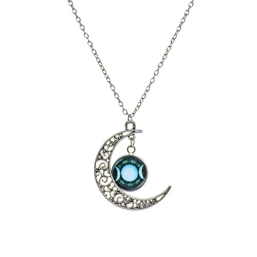 Vintage Crescent Moon - Triple Moon Goddess Necklace